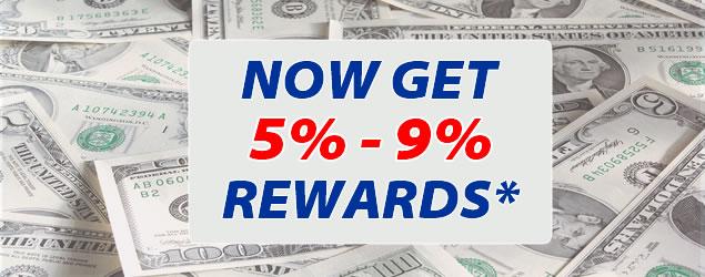 5 to 9 percent rewards